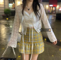 Fashion suit Summer 2021 S,M,L With suspenders inside, moonlight white long sleeve shirt, plaid skirt 18-25 years old 30% and below