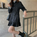 Dress Spring 2021 black S, M longuette singleton  Long sleeves commute Polo collar High waist Solid color Single breasted Ruffle Skirt routine 18-24 years old Type A Button 30% and below Denim cotton