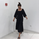 Dress Autumn of 2018 black Average size Mid length dress singleton  three quarter sleeve commute square neck Loose waist Solid color Socket puff sleeve 18-24 years old Type H Other / other Korean version Bandage 71% (inclusive) - 80% (inclusive) other