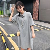 Dress Summer of 2018 Average code grey black Long skirt Commuting Single Short sleeve POLO collar Pure color Elastic waist Sleeve conventional Type H