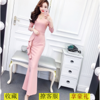 Dress Autumn 2020 S,M,L longuette singleton  Long sleeves V-neck High waist Solid color zipper 18-24 years old Type X Ruffle, stitching, zipper