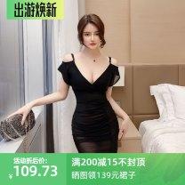 Dress Summer 2021 black S,M,L Short skirt singleton  Long sleeves V-neck High waist Solid color zipper One pace skirt camisole 18-24 years old Open back, fold, mesh, zipper