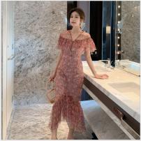 Dress Summer of 2019 Powder printing S,M,L Mid length dress singleton  Short sleeve V-neck High waist Decor zipper Ruffle Skirt 18-24 years old Chiffon