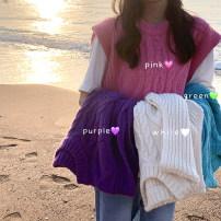 Vest Autumn 2020 Purple, plum pink, ice cream green, beige Average size routine Crew neck Versatile Solid color 18-24 years old