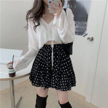 Fashion suit Spring 2021 Average size White knitting, black polka dot skirt 18-25 years old