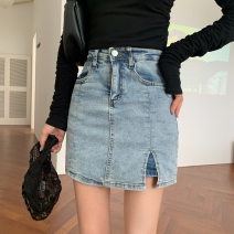 skirt Spring 2021 S,M,L Blue, black Short skirt Versatile High waist A-line skirt Solid color Type A 18-24 years old 71% (inclusive) - 80% (inclusive) Denim cotton