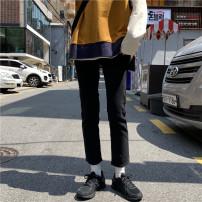 Jeans Autumn 2020 Blue, black S,M,L Ninth pants High waist Straight pants routine 18-24 years old Wash, zipper, button, multi pocket