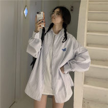 shirt white Average size Spring 2021 cotton 81% (inclusive) - 90% (inclusive) Long sleeves commute Medium length Polo collar Single row multi button routine stripe 18-24 years old Straight cylinder Korean version cotton