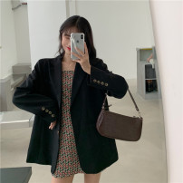 suit Spring 2021 Black floral skirt , Black suit Average size Long sleeves routine easy tailored collar Single breasted commute routine Solid color 18-24 years old 96% and above cotton Button