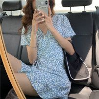 Dress Summer 2021 Picture color S, M Short skirt singleton  Short sleeve commute V-neck High waist Broken flowers Socket A-line skirt routine Others 18-24 years old Type A Korean version 31% (inclusive) - 50% (inclusive) other