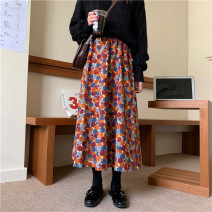 skirt Winter 2020 Average size Picture color Mid length dress commute High waist A-line skirt Dot Type A 18-24 years old More than 95% corduroy polyester fiber printing Korean version