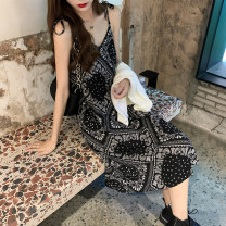 Dress Spring 2021 Knitted cardigan, suspender skirt Average size Middle-skirt singleton  Sleeveless commute V-neck High waist Broken flowers Socket A-line skirt camisole 18-24 years old Type A Retro 71% (inclusive) - 80% (inclusive) other other