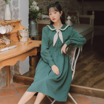 Dress Winter 2020 Dark green, blue S,M,L,XL Mid length dress singleton  Long sleeves commute Crew neck High waist Solid color Socket A-line skirt shirt sleeve Others 18-24 years old Type A POY literature Pleats, stitches, straps, buttons 31% (inclusive) - 50% (inclusive) other