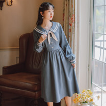 Dress Winter 2020 blue S,M,L,XL Mid length dress singleton  Long sleeves commute Crew neck middle-waisted Solid color Socket Big swing shirt sleeve 18-24 years old Type A POY Retro Pleats, lace UPS, stitches, straps, buttons 31% (inclusive) - 50% (inclusive) other