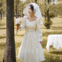 Dress Autumn 2020 Fairy skirt, fairy skirt with headdress, short sleeve fairy skirt, short sleeve fairy skirt with headdress XS,S,M,L,XL Mid length dress singleton  Long sleeves commute V-neck Elastic waist Solid color Cake skirt puff sleeve 18-24 years old Type A POY literature