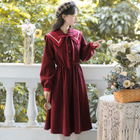 Dress Winter 2020 Black, red, khaki, blue S,M,L,XL Mid length dress singleton  Long sleeves Sweet other High waist Solid color Socket other other Others 18-24 years old Type A POY Splicing 71% (inclusive) - 80% (inclusive) other other Mori