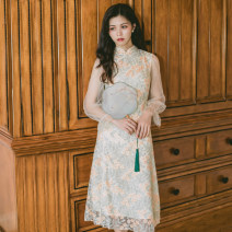 Dress Autumn of 2019 Picture color and object shooting S,M,L Mid length dress singleton  Long sleeves commute stand collar High waist A-line skirt puff sleeve Others 25-29 years old Type A POY Retro Asymmetry, web