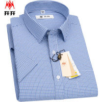shirt Business gentleman Open up 38 39 40 41 42 43 44 45 46 routine square neck Short sleeve standard daily summer SKT201015 middle age Polyester 80% cotton 20% Business Casual 2021 lattice Color woven fabric Summer 2021 washing Button decoration