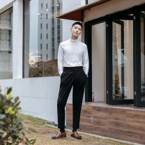 T-shirt / sweater Others Business gentleman Black, white, brown, dark brick M. L, XL, 2XL, hand wash recommended, flat air dry, containing wool, fabric is very soft Thin money Socket Pile collar Long sleeves winter Slim fit 2018 go to work like a breath of fresh air youth routine other