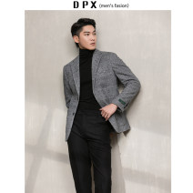 man 's suit Light grey, dark grey Others Fashion City thick M,L,XL,2XL standard Double breasted go to work Double slit Long sleeves winter routine Business Formal  Casual clothes Green fruit collar Round hem lattice 2020