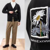 T-shirt / sweater Others Fashion City black M,L,XL thickening Cardigan V-neck Long sleeves winter Straight cylinder 2020 go to work Business Formal  youth routine Plants and flowers washing