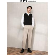 Vest / vest Fashion City Others M,L,XL,2XL Gray, black go to work standard Woolen vest routine autumn V-neck youth 2019 Exquisite Korean style Solid color Cloth hem Save pocket
