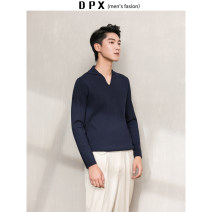 T-shirt / sweater Others Fashion City Light gray, khaki, navy M,L,XL,2XL routine Socket Lapel Long sleeves autumn Slim fit 2019 go to work Basic public youth routine Solid color washing