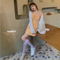Women's large Summer 2020 Knitted coat , Dress It is suggested that the size of the recommended size is 120-40kg, and it is recommended to use the size of 120-40kg Dress Two piece set commute Self cultivation moderate Socket Sleeveless Plaid, solid Korean version 18-24 years old Short skirt bow