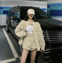Women's large Autumn 2020 Khaki jeans, khaki jeans jacket It is suggested that the size of the recommended size is 120-40kg, and it is recommended to use the size of 120-40kg Two piece set commute easy moderate Long sleeves Korean version other routine bishop sleeve 18-24 years old shorts