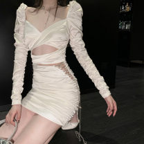 Women's large Spring 2021, summer 2021 White, black It is suggested that the size of the recommended size is 120-40kg, and it is recommended to use the size of 120-40kg Dress singleton  commute Self cultivation moderate Socket Long sleeves Solid color Korean version square neck puff sleeve