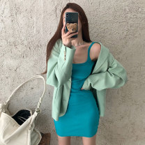 Women's large Winter 2020, autumn 2020 Suit, coat, dress It is suggested that the size of the recommended size is 120-40kg, and it is recommended to use the size of 120-40kg Two piece set commute easy moderate Cardigan Long sleeves Korean version Medium length routine 18-24 years old Short skirt
