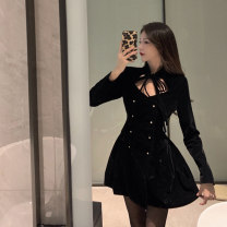 Women's large Spring 2021 black It is suggested that the size of the recommended size is 120-40kg, and it is recommended to use the size of 120-40kg Dress singleton  commute Self cultivation Conjoined Long sleeves Korean version 18-24 years old Bandage Short skirt