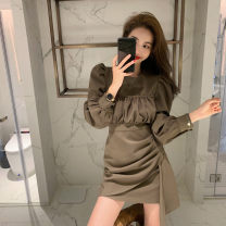 Women's large Spring 2021, summer 2021 Black, card Dress singleton  commute Self cultivation moderate Socket Long sleeves Solid color Korean version Crew neck puff sleeve 18-24 years old Short skirt Irregular skirt