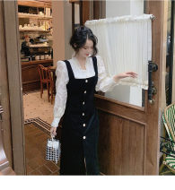 Women's large Winter 2020, autumn 2020 A white dress with a skirt on the back It is suggested that the size of the recommended size is 120-40kg, and it is recommended to use the size of 120-40kg Dress Two piece set commute easy thick Long sleeves Korean version 18-24 years old Medium length