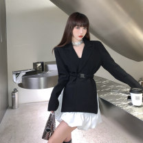 Women's large Spring 2021 Black suit (belt) , White skirt S [recommended 80-90 Jin], m [recommended 90-100 Jin], l [recommended 100-120 Jin, XL [recommended 120-140 Jin], 2XL [recommended 140-160 Jin], 3XL [recommended 160-180 Jin], 4XL [recommended 180-200 Jin] Two piece set commute easy moderate