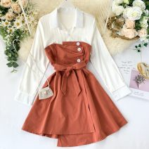 Dress Autumn of 2019 Pink, green, yellow, red, blue, black, orange Average size Short skirt singleton  Long sleeves commute Polo collar High waist Solid color Socket A-line skirt shirt sleeve Others 18-24 years old Type A Korean version Pleats, lacing, stitching, buttons other other