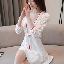 Lace / Chiffon Spring of 2019 Black, red S,M,L,XL,2XL Long sleeves Versatile Cardigan singleton  Self cultivation Regular V-neck Solid color routine Thread, lace 31% (inclusive) - 50% (inclusive) nylon