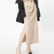 skirt Summer 2021 One, two, three, four, five As shown in the figure Mid length dress Versatile High waist A-line skirt Xgirdearst / heathy