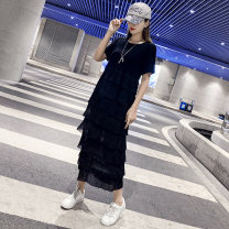 Dress Summer 2021 Black sling black sling white S M L XL 2XL 3XL longuette singleton  Short sleeve commute Crew neck Loose waist Solid color Cake skirt routine Others 25-29 years old Angel Tisha / Angel Tisha Korean version 91% (inclusive) - 95% (inclusive) cotton Pure e-commerce (online only)