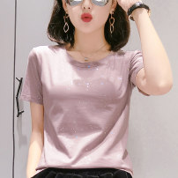 T-shirt Light apricot coffee Red Black Grey Pink White S M L XL XXL Spring 2021 Short sleeve Crew neck Straight cylinder Regular routine commute cotton 86% (inclusive) -95% (inclusive) 25-29 years old Britain originality Solid color grape pip WW888 Sequins Pure e-commerce (online only)