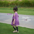 Dress Purple potato, elephant grey female Shi pea 80cm, 90cm, 120cm, 130cm, 140cm, 100cm (Marilyn try on), 110cm (Ajiao try on) Other 100% summer Korean version Short sleeve Solid color other Lotus leaf edge Y1599 embroidered dress with shoulder missing