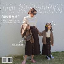Parent child fashion Deep chocolate Women's dress female Shi pea 80cm, 90cm, 120cm, 130cm, 140cm, mom s, mom m, mom L, 100cm (Marilyn try on), 110cm (Ajiao try on) Q407 spring and autumn Korean version skirt L,M,S Q407 18 months, 2 years old, 3 years old, 4 years old, 5 years old, 6 years old