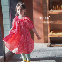 Dress cherry female Shi pea 80cm, 90cm, 120cm, 130cm, 140cm, 100cm (Marilyn try on), 110cm (Ajiao try on) Other 100% summer princess Short sleeve Broken flowers other other Y1646 raglan sleeve Decor dress 18 months, 2 years old, 3 years old, 4 years old, 5 years old, 6 years old Chinese Mainland