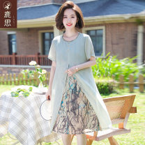 Middle aged and old women's wear Summer 2021 green fashion Dress easy singleton  Decor 40-49 years old Socket thin Crew neck Medium length routine LS2021B2026 Sskkdeer / Luxi polyester Polyester 100% 96% and above Pure e-commerce (online only) Medium length