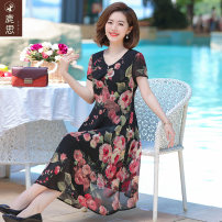 Middle aged and old women's wear Summer 2021 black commute Dress easy singleton  Decor 40-49 years old Socket thin V-neck Medium length routine Sskkdeer / Luxi polyester Polyester 100% 96% and above Pure e-commerce (online only) longuette