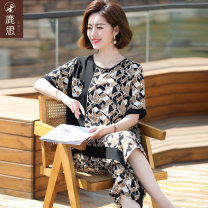 Middle aged and old women's wear Summer 2021 black fashion suit easy Two piece set Decor 40-49 years old Socket thin Crew neck routine routine LS2021B8130 Sskkdeer / Luxi pocket polyester Polyester 100% 96% and above Pure e-commerce (online only) Cropped Trousers