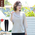 Middle aged and old women's wear Summer 2021 Light grey light grey + black pants fashion T-shirt easy singleton  Solid color 40-49 years old Socket thin Crew neck routine routine LS2021B637 Sskkdeer / Luxi polyester Polyester fiber 90.6% polyurethane elastic fiber (spandex) 9.4% 3 / 5 sleeve