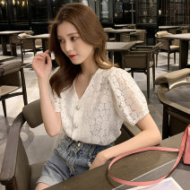 Lace / Chiffon Summer 2020 White (for breast wrapping) S M L XL Short sleeve commute Cardigan singleton  Straight cylinder Regular V-neck Solid color routine 18-24 years old Yalianxiang 7530# Korean version 30% and below Other 100% Pure e-commerce (online only) nylon
