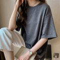 Lace / Chiffon Summer 2021 Grey black white M L XL 2XL 3XL 4XL Short sleeve commute Socket singleton  easy Regular Crew neck Solid color routine 18-24 years old Yalianxiang Korean version Other 100%