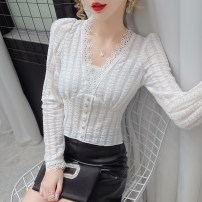 shirt Black and white S M L XL Autumn 2020 other 96% and above Long sleeves commute Regular V-neck Socket routine Solid color 25-29 years old Self cultivation Yalianxiang court Button Other 100% Lace